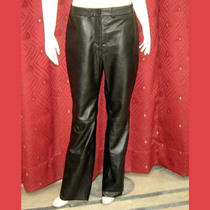 Real Leather Women Black Pants Dragon Age Biker Soft Pants-LPAF-023