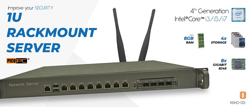 8 LAN 10Gig Fiber SFP+ 4G NGFW Firewall 1U Rackmount Server | NSHO-001