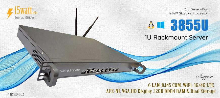 Intel 3855U 6 LAN 1 COM WiFi 4G Firewall 1U Rackmount Server