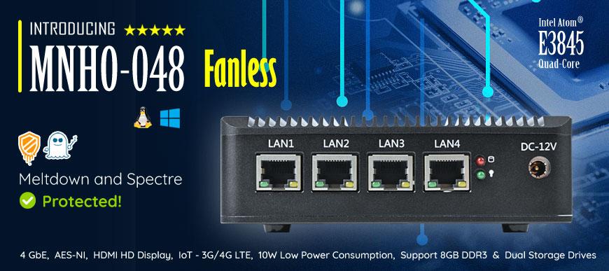 Intel Atom� E3845 4 LAN AES-NI 3G/4G Fanless Firewall Router