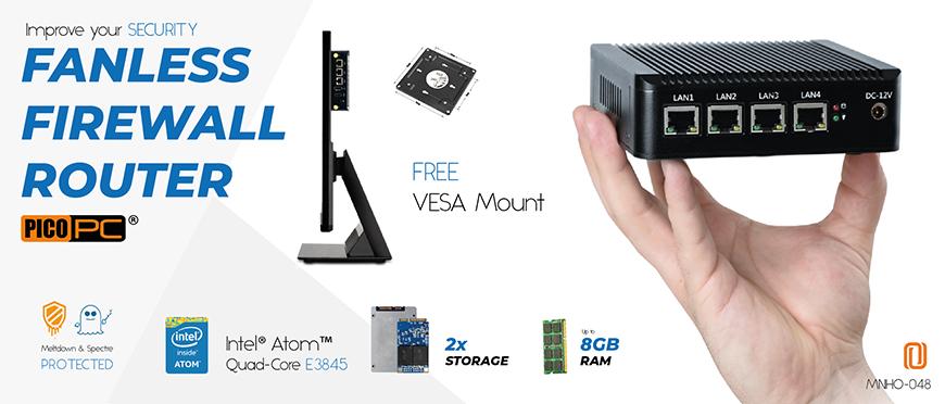 Intel Atom® E3845 4 LAN AES-NI 3G/4G Fanless Firewall Router | MNHO-048