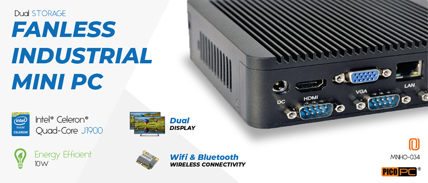 Intel® J1900 HD WiFi 4 COM 2 LAN Fanless Industrial Mini PC | MNHO-034