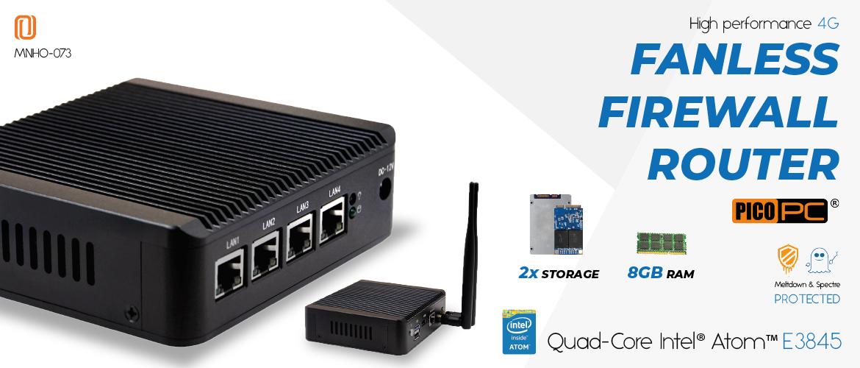 Intel® E3845 4 LAN 1 COM AES-NI 4G Fanless Firewall Router | MNHO-073