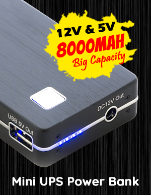 12V 5V DC 8000mAh Compact Rechargeable Mini UPS Power Bank