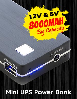 12V 5V DC 8000mAh Compact Rechargeable Mini UPS Power Bank