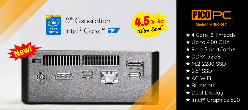 8th Gen Intel� Core� i7-8550U 4 Core HD Dual Display Mini PC | MNHO-087
