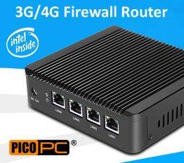 Intel J1900 4 LAN 3G WiFi Firewall Router Fanless Mini PC   MNHO-043