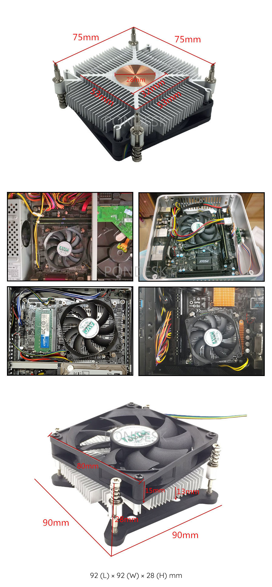 Intel Socket LGA115X Low Profile 28mm CPU Cooler Heatsink - CFHO-006   Image