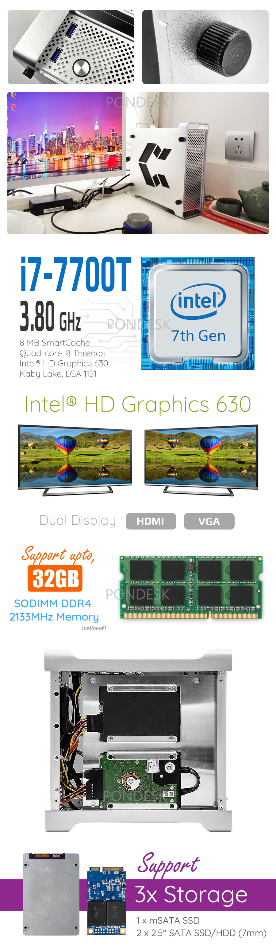 7th Gen Intel® i7-7700T Kaby Lake 3.8GHz HD 630 Mini Desktop - DTHO-007 | Image