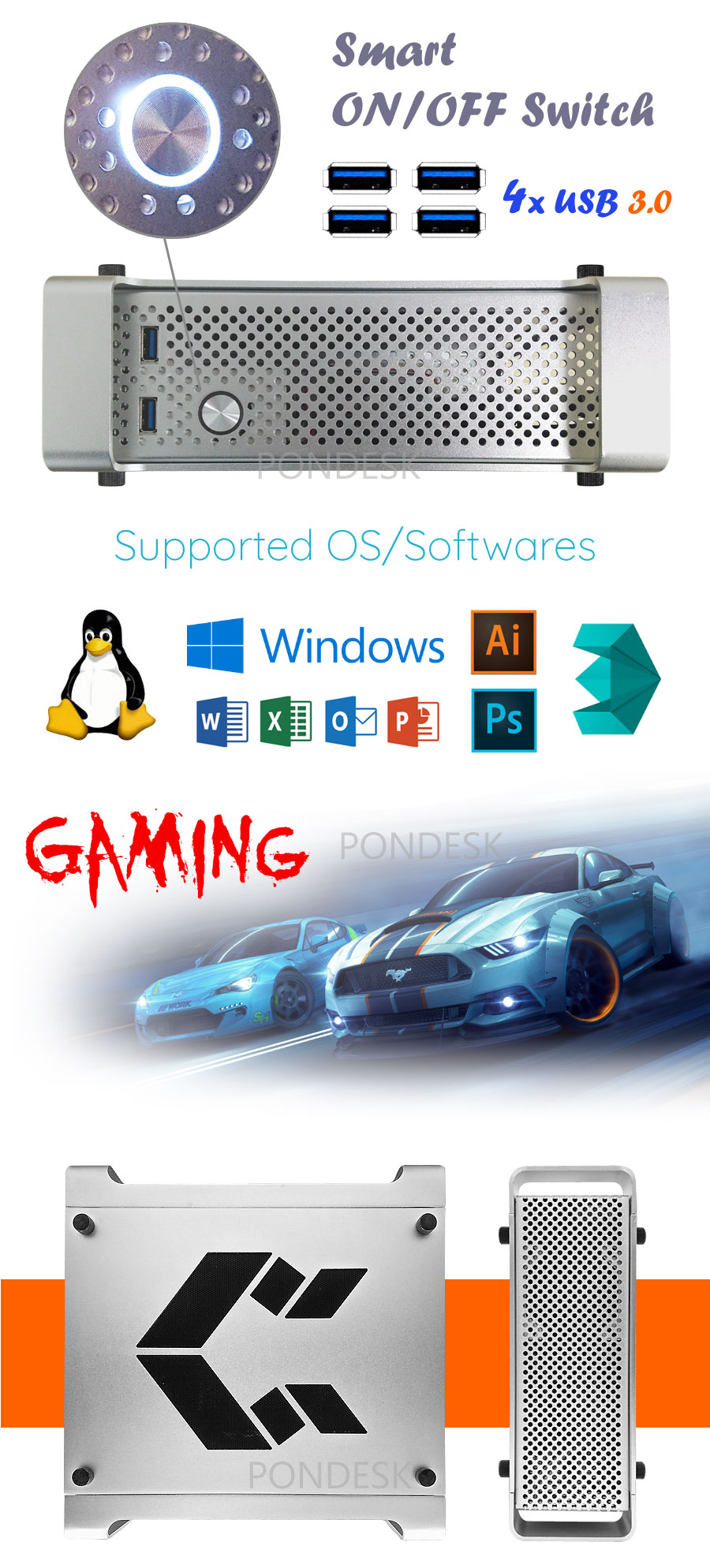 7th Gen Intel® i7-7700T Kaby Lake 3.8GHz HD 630 Mini Desktop - DTHO-007   Image