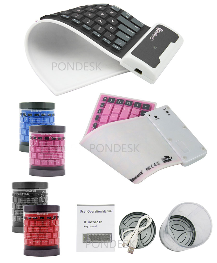Rechargeable Flexible iOS Android Soft Bluetooth Keyboard - KBHO-002 | Image