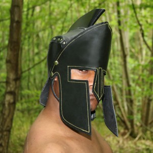Real Leather Spartan Helmet Medieval Armor Cosplay Larp SCA-LPAF-021