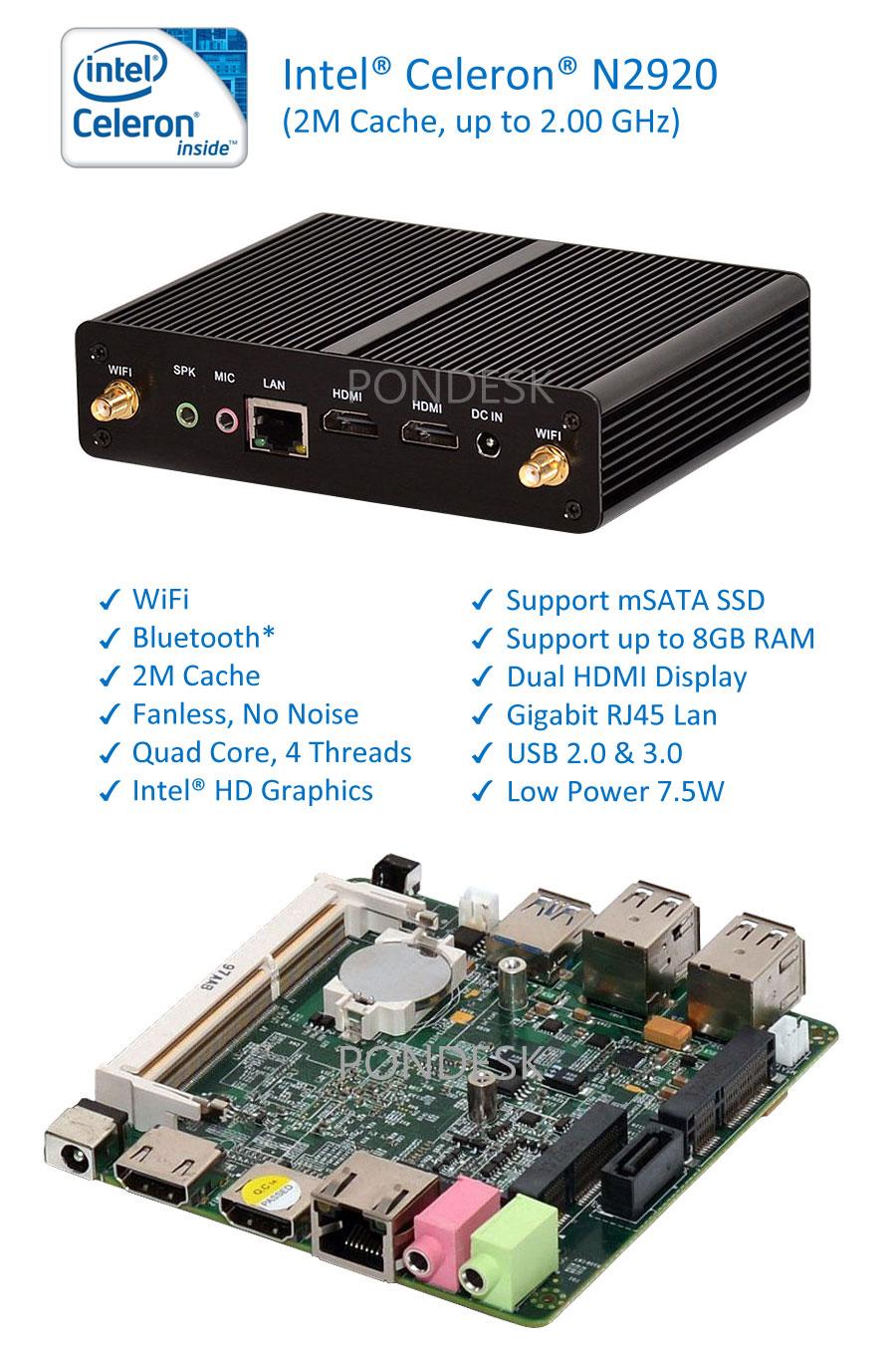 Intel Celeron N2920 Quad Core 2GHz WiFi HDMI Fanless Mini PC - MNHO-001   Image
