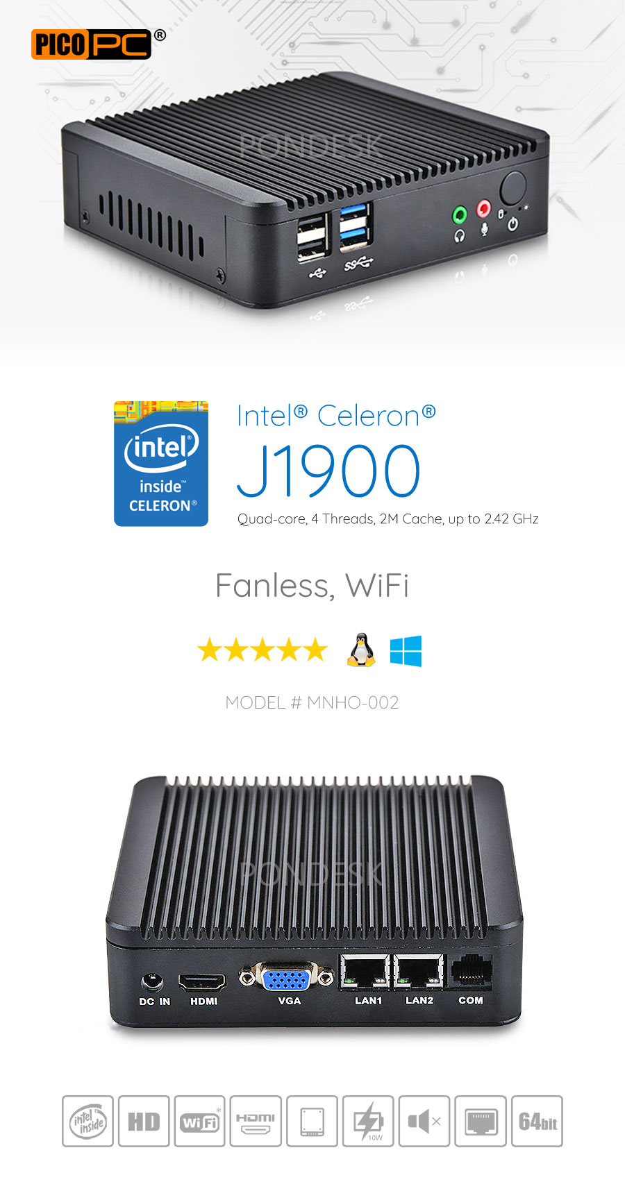 Intel® J1900 2 LAN 1 COM HD Dual Display Fanless Mini PC - MNHO-002 | Image