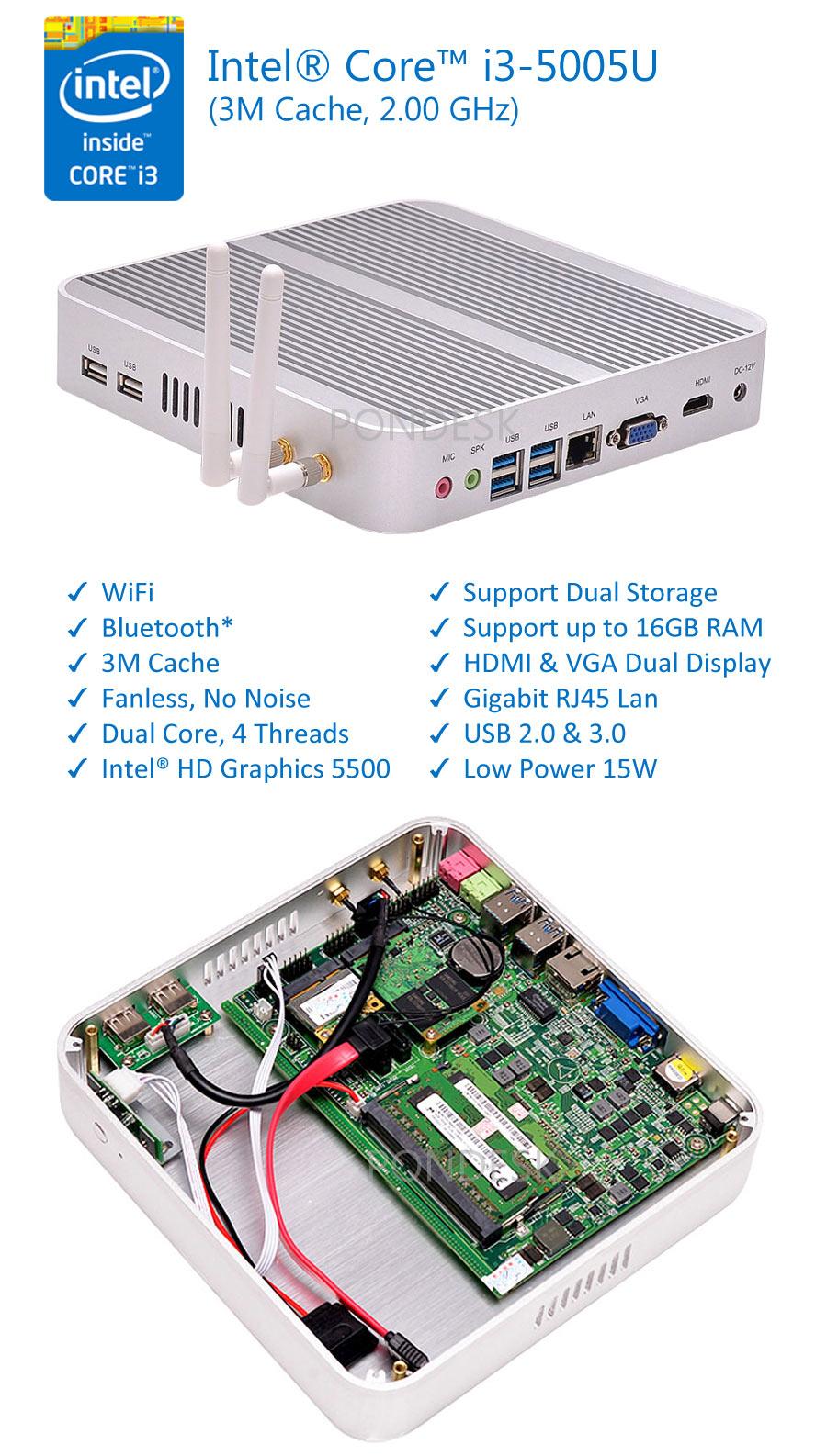 5th Gen. Intel i3-5005U WiFi HD 5500 2.0GHz Fanless Mini PC - MNHO-003 | Image