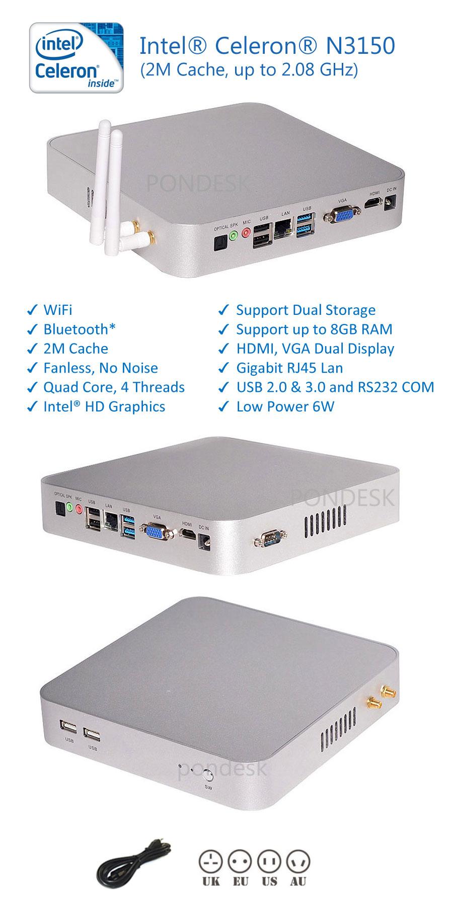 Intel N3150 Quad Core 2.08GHz HD WiFi HDMI Fanless Mini PC - MNHO-008 | Image