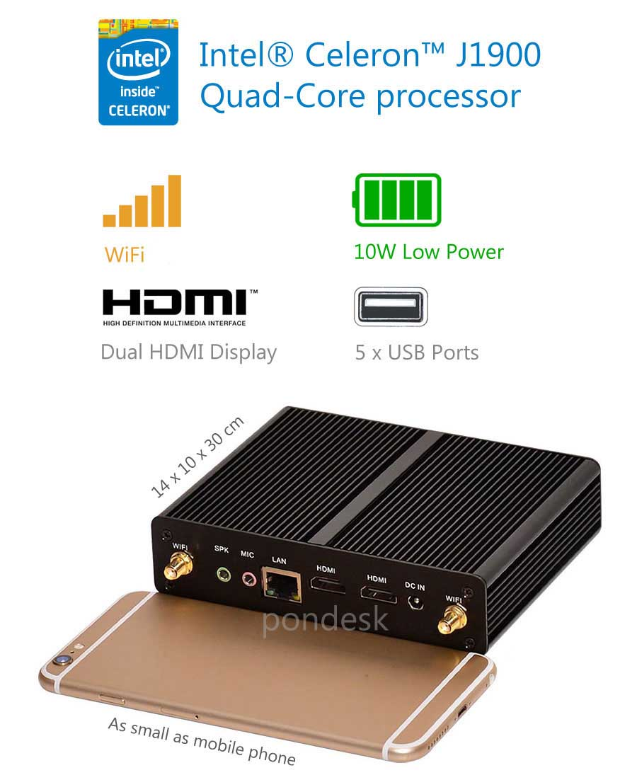 Intel J1900 Quad Core 2.42GHz Dual HDMI WiFi Fanless Mini PC - MNHO-024 | Image