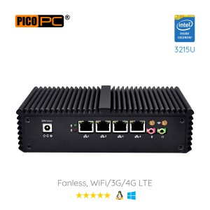 Intel® 3215U 4 LAN 1 COM HD WiFi 4G Fanless Firewall Router-MNHO-035