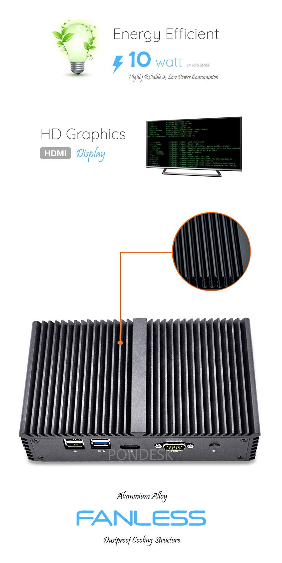 Intel® i3-4005U 4 LAN 1 COM WiFi 4G Fanless Firewall Router - MNHO-036 | Image
