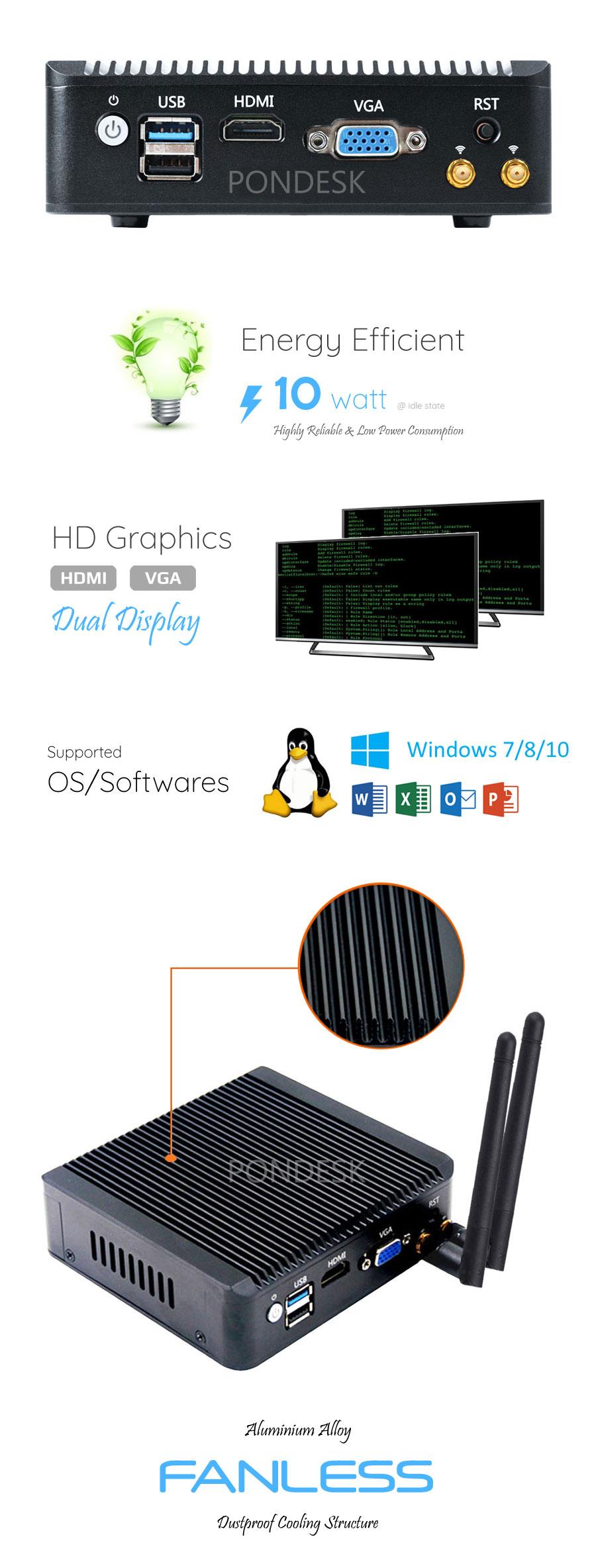 Intel J1900 4 LAN HD Dual Display 4G Fanless Firewall Router