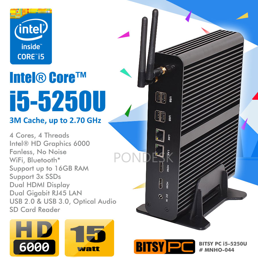 5th Gen. Intel i5-5250U WiFi HD 6000 2.70GHz Fanless Mini PC - MNHO-044 | Image