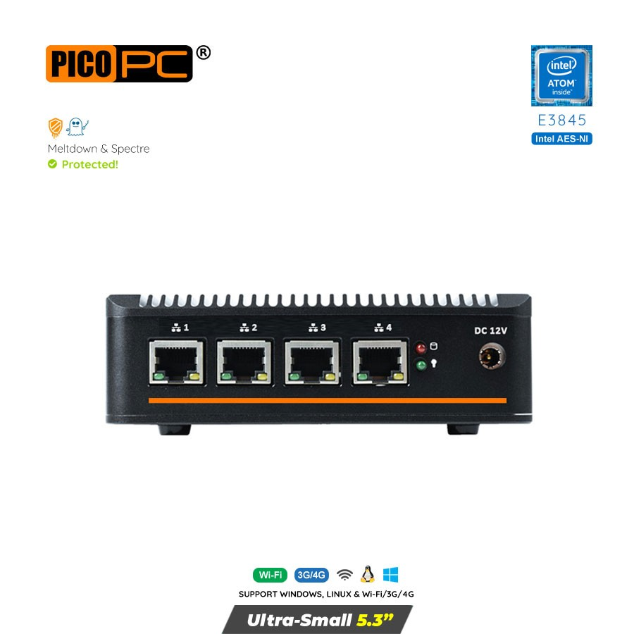 Intel Atom® E3845 4 LAN AES-NI 3G/4G Fanless Firewall Router