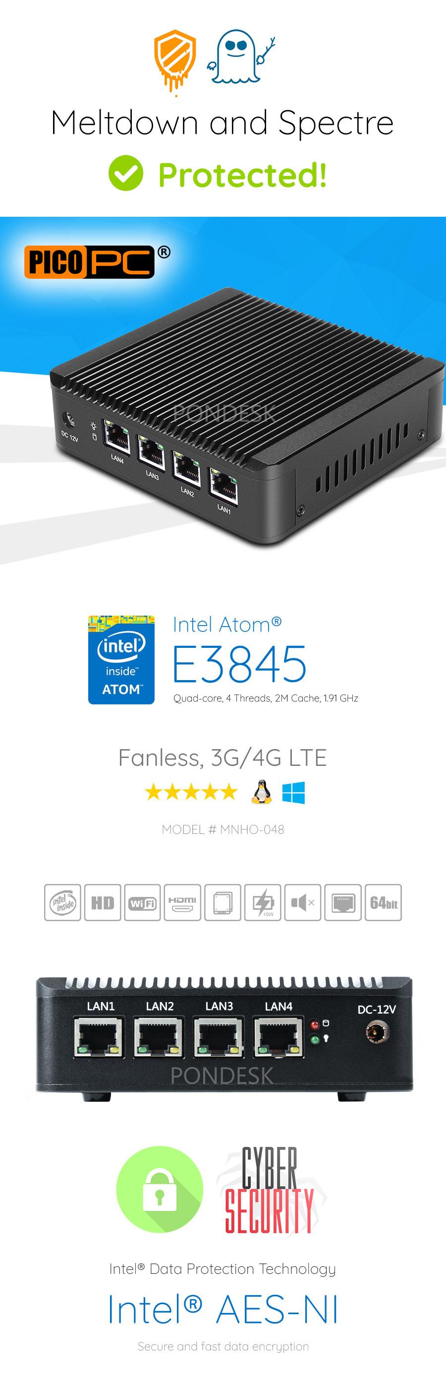 Intel Atom® E3845 4 LAN AES-NI 3G/4G Fanless Firewall Router - MNHO-048 | Image