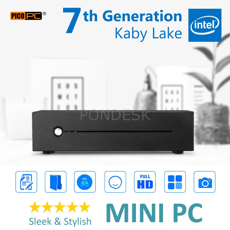 7th Gen. Intel® G4560 Kaby Lake 3.5GHz Ultra-Slim HD Mini PC