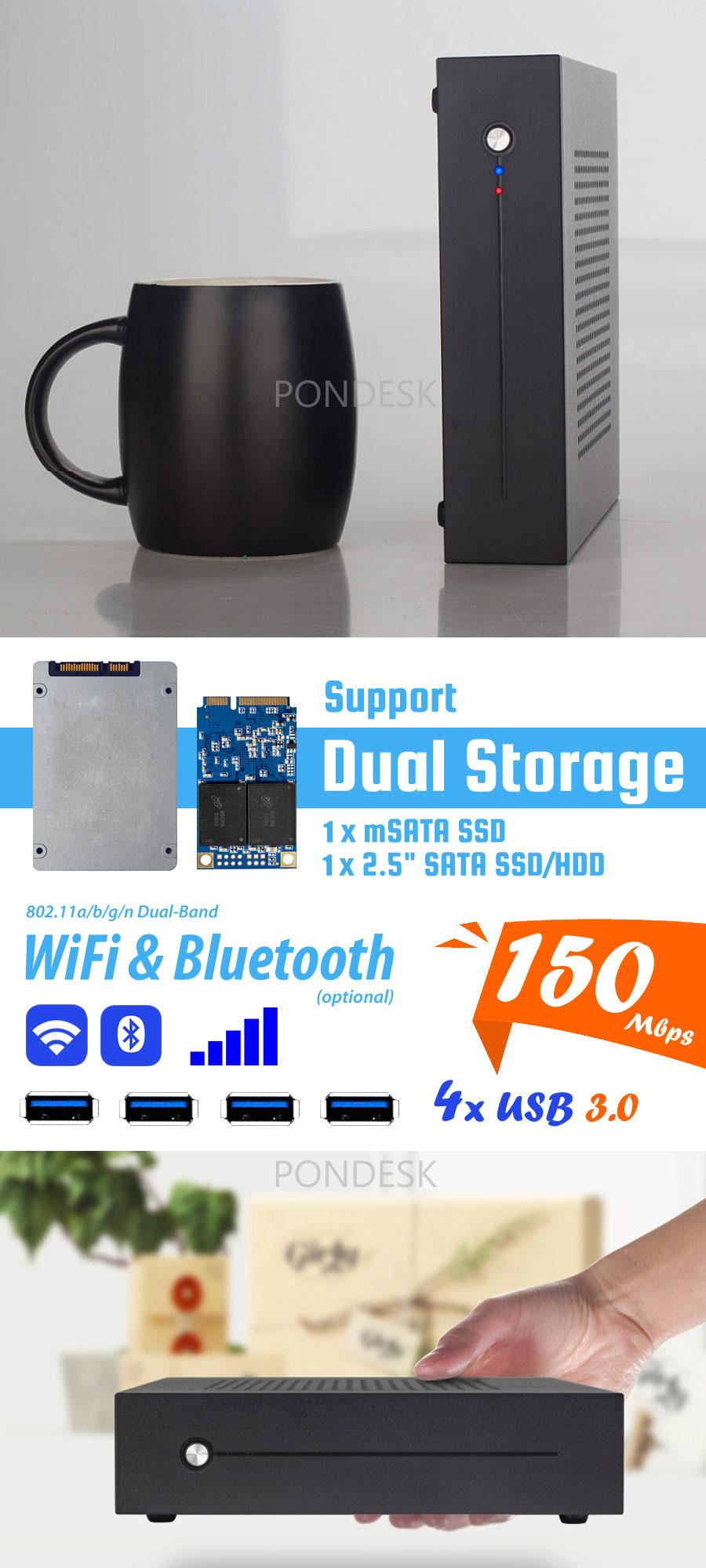 7th Gen. Intel® G4560 Kaby Lake 3.5GHz Ultra-Slim HD Mini PC - MNHO-050   Image