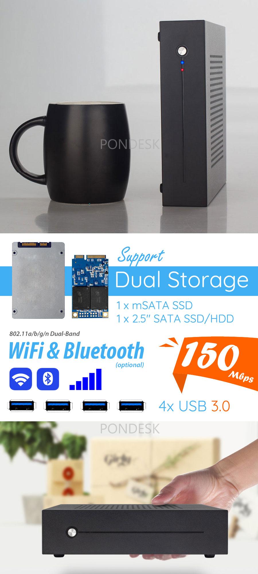 7th Gen. Intel® Core™ i7-7700T Kaby Lake 3.8GHz HD Mini PC - MNHO-055 | Image