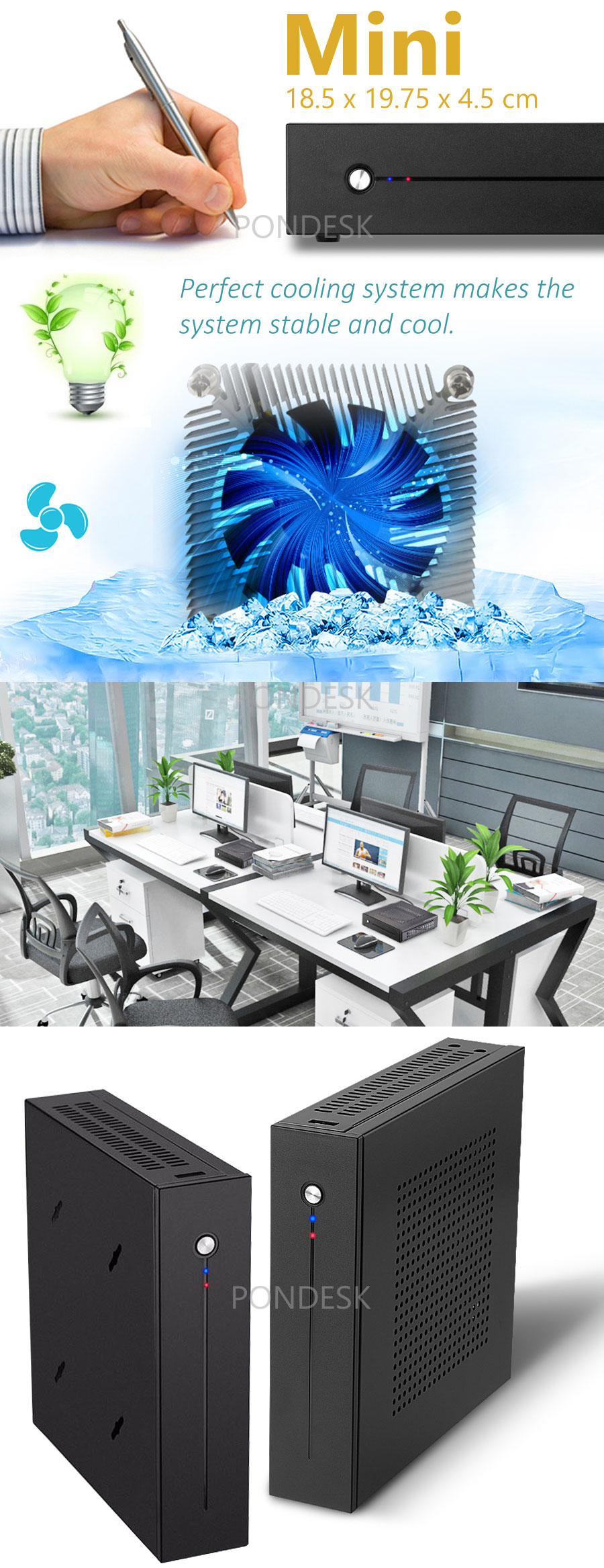 7th Gen. Intel® G4560 Kaby Lake 3.5GHz 2 LAN HD 610 Mini PC - MNHO-056 | Image