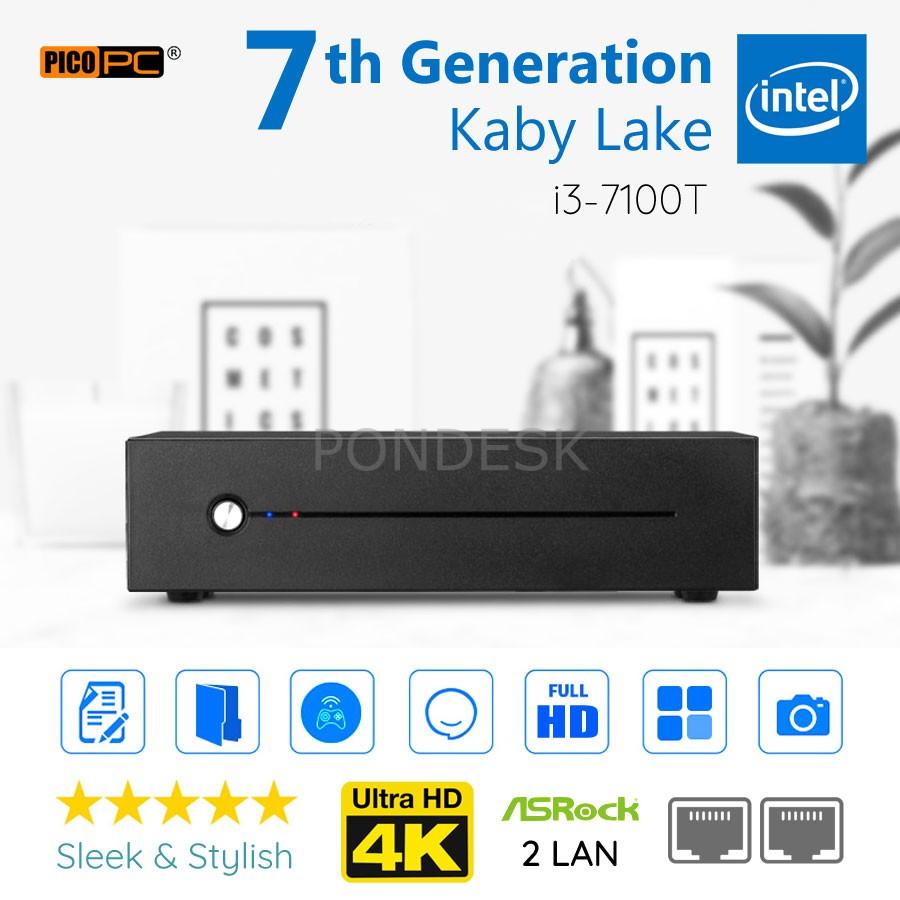 7th Gen Intel® i3-7100T Kaby Lake 3.40GHz 2 LAN HD Mini PC