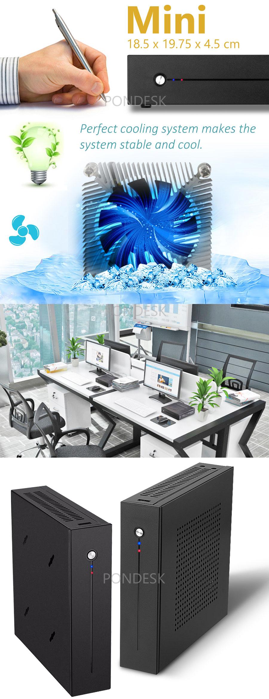 7th Gen Intel® i3-7100T Kaby Lake 3.40GHz 2 LAN HD Mini PC - MNHO-057 | Image