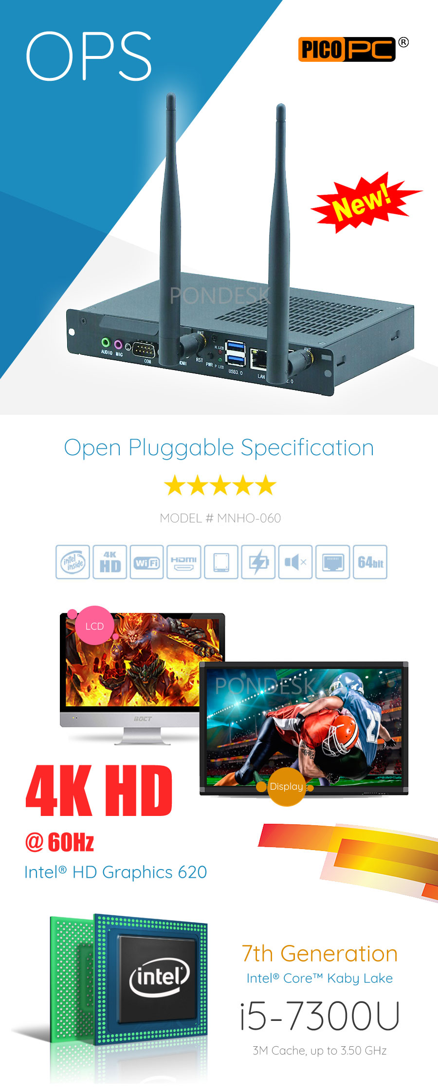 Intel® i5-7300U 4K HD OPS Multi-Media Digital Signage Player - MNHO-060 | Image