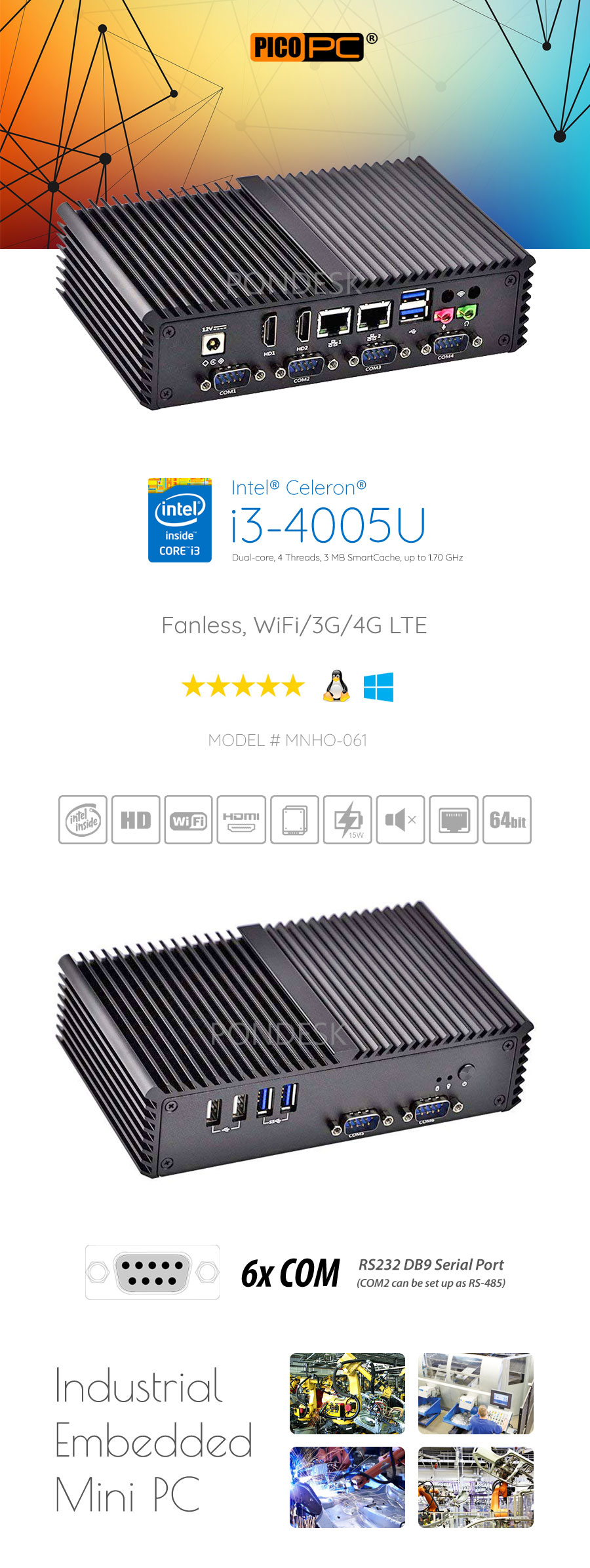 Intel® i3-4005U WiFi 4G 6COM 2LAN Fanless Industrial Mini PC - MNHO-061 | Image