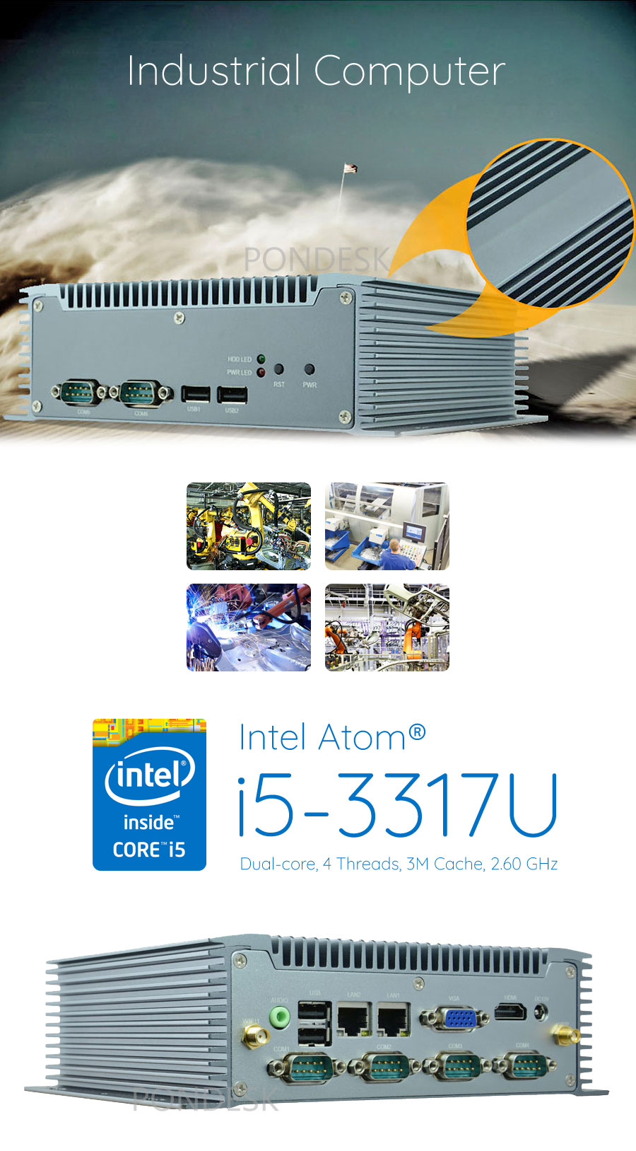 Intel® i5-3317U 2.60GHz HD 6 COM 2 LAN Fanless Industrial PC - MNHO-065 | Image