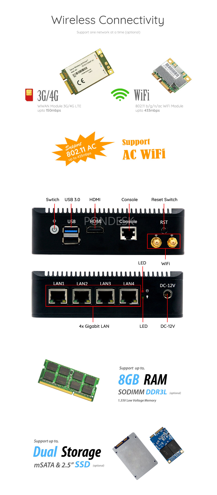 Intel® E3845 4 LAN 1 COM AES-NI 4G Fanless Firewall Router - MNHO-073 | Image