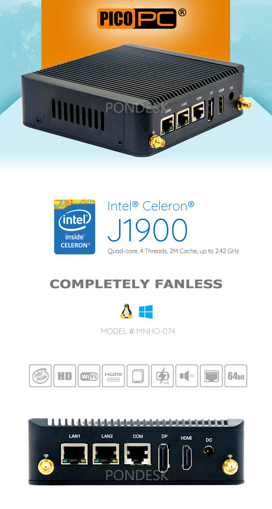 Intel® J1900 3G/4G 2 LAN 1 COM Dual Display Fanless Mini PC - MNHO-074 | Image