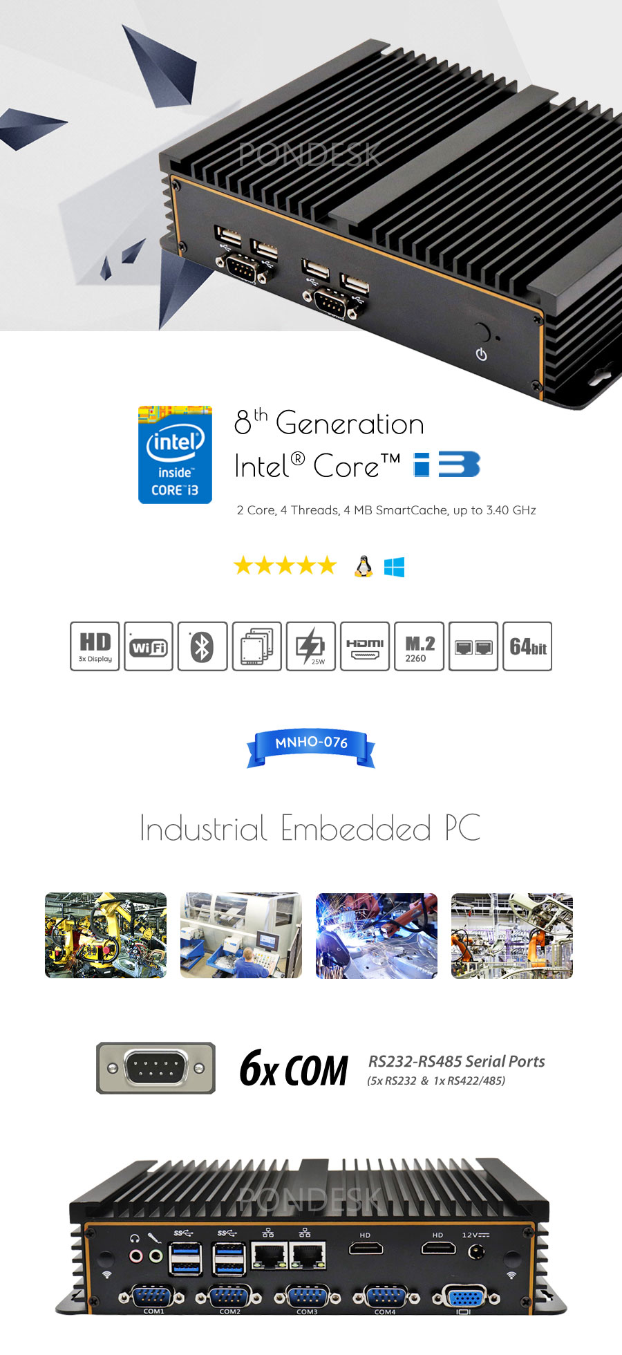 8th Gen Intel i3-8130U 6 COM 3 Display Fanless Industrial PC - MNHO-076 | Image