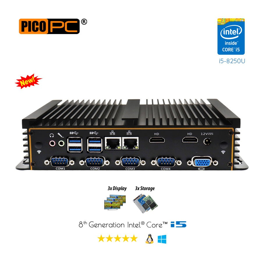 8th Gen Intel i5-8250U 6 COM 3 Display Fanless Industrial PC