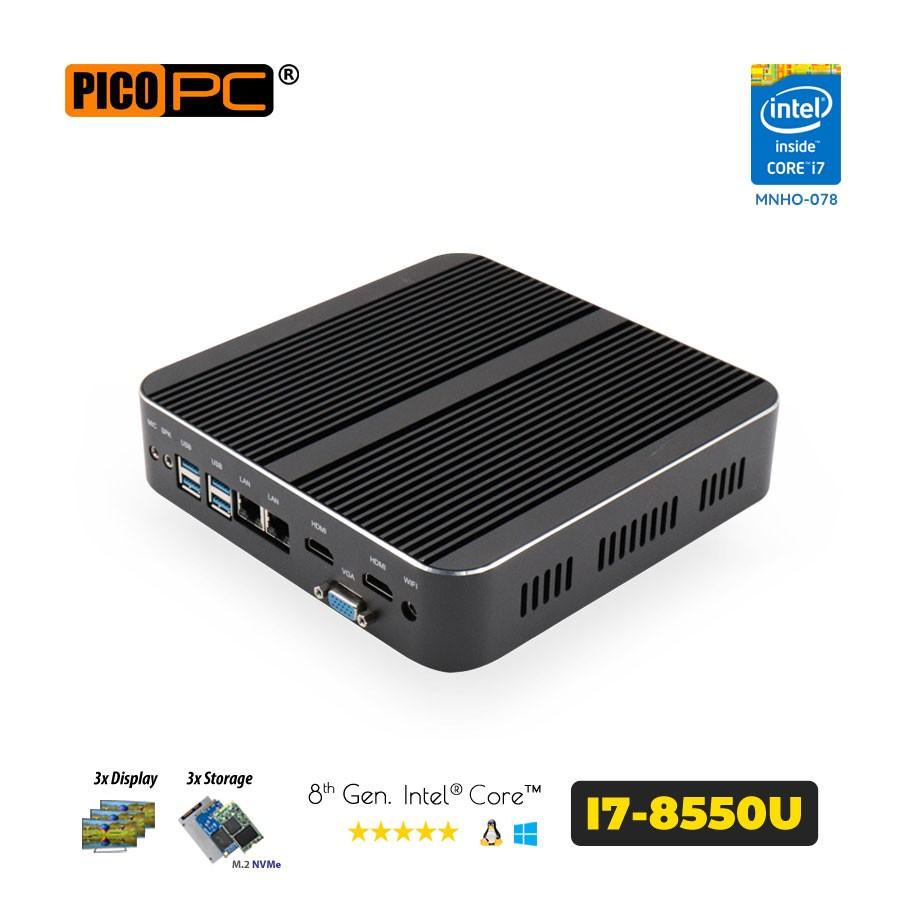 8th Gen Intel® Core i7-8550U 2 LAN 3 Display Fanless Mini PC
