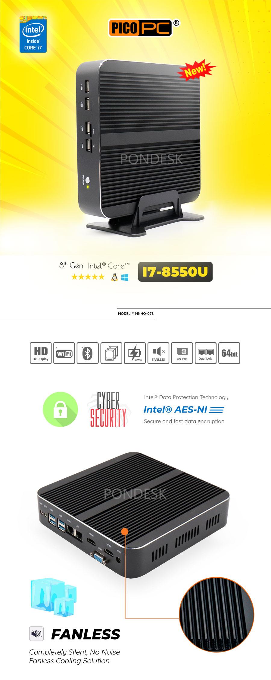 8th Gen Intel® Core i7-8550U 2 LAN 3 Display Fanless Mini PC - MNHO-078 | Image