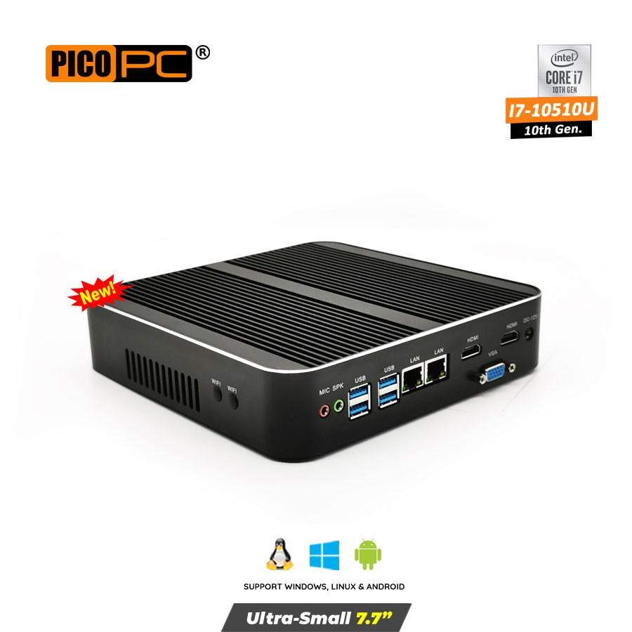 10th Gen. Intel® i7-10510U 2 LAN 3 Display Fanless Mini PC