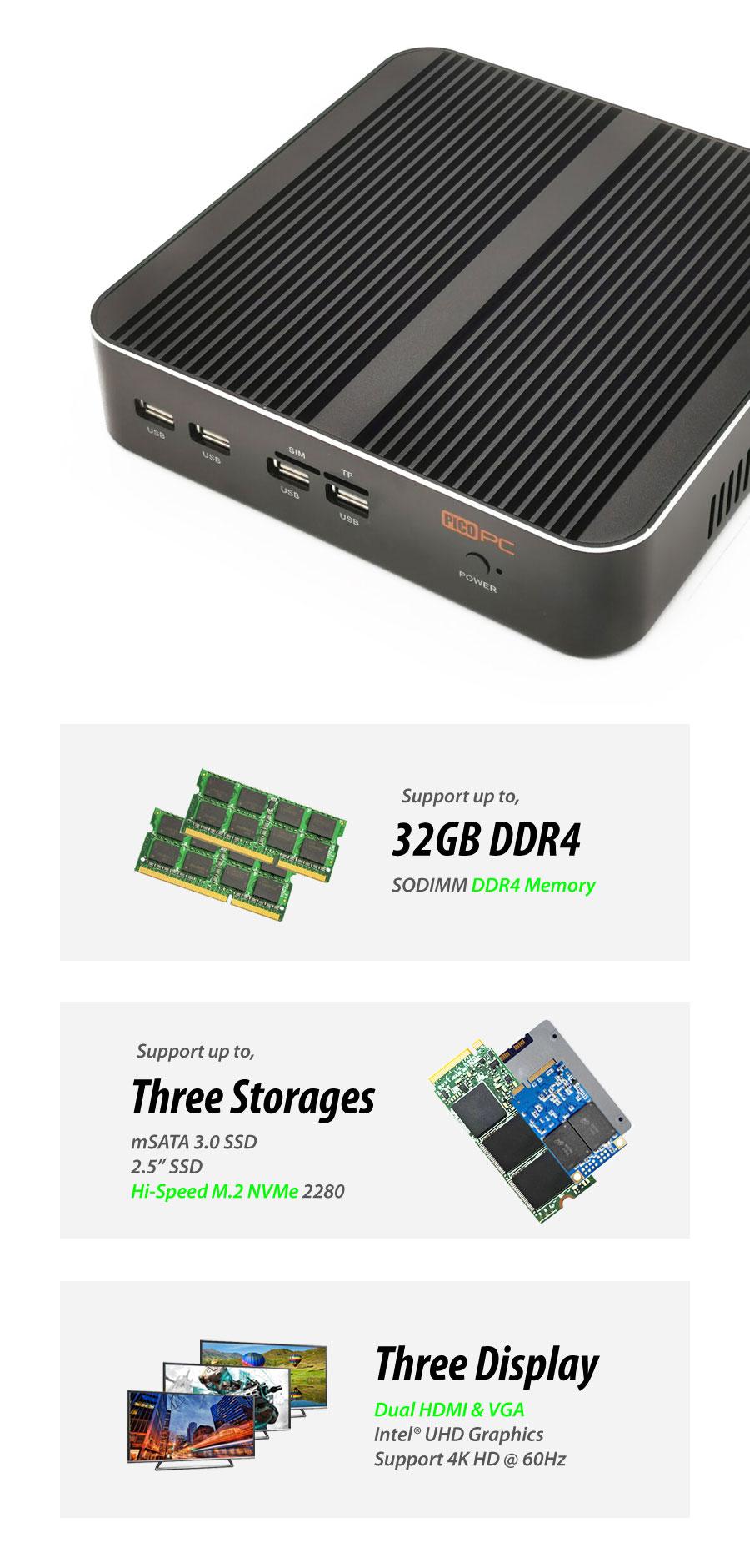 10th Gen. Intel® i7-10510U 2 LAN 3 Display Fanless Mini PC - MNHO-079 | Image