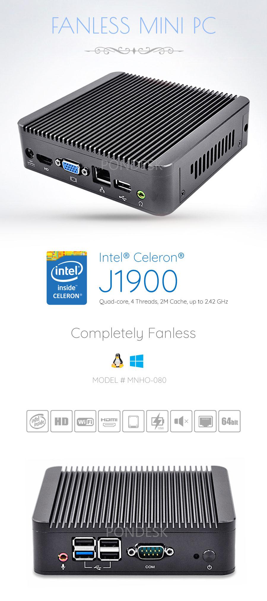 Intel® J1900 Quad Core HD Dual Display RS232 Fanless Mini PC - MNHO-080 | Image