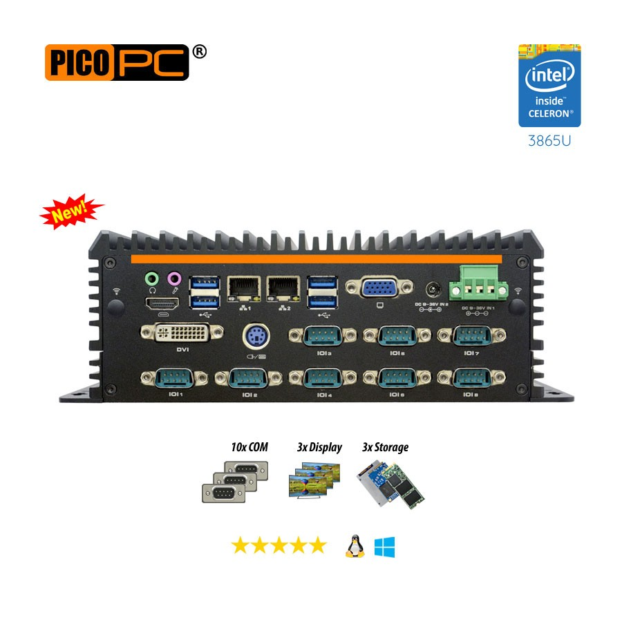 Intel® 3865U 2 LAN 10 COM GPIO Fanless Industrial Mini PC
