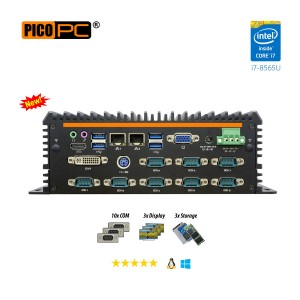 8th Gen. Intel® i7-8565U 10 COM Fanless Industrial Mini PC-MNHO-082