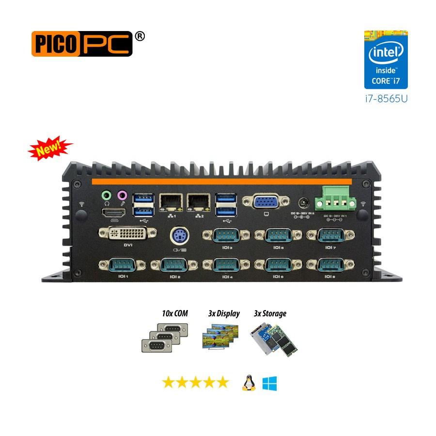 8th Gen. Intel® i7-8565U 10 COM Fanless Industrial Mini PC