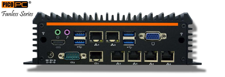Intel® 3865U 6 LAN 2 COM GPIO Dual Display Fanless Mini Industrial PC | MNHO-083