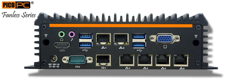 Intel® Core™ i7-8565U 6 LAN 2 COM GPIO Dual Display Fanless Mini Industrial PC